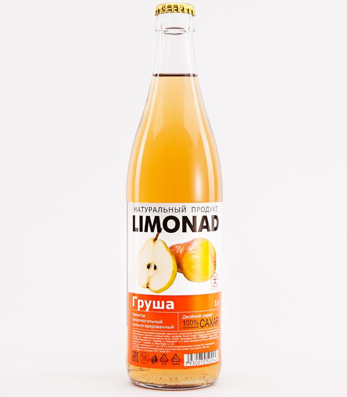 Этикетка на белой пленке без отделки на бутылку лимонада Груша