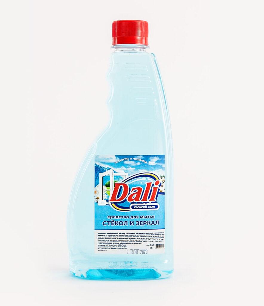 Бумажная этикетка на пластиковую бутылку средства для мытья стекол и зеркал