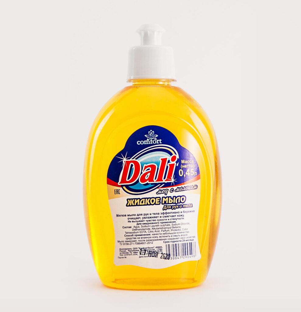 Бумажная этикетка на пластиковый флакон жидкого мыла Dali